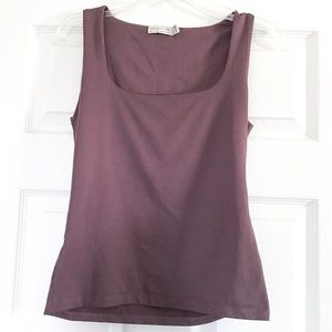 Zara Basic U-Neck Purple Fitted Tank Top